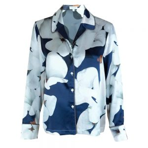 'Camo Bloom' Silk Pyjama Shirt
