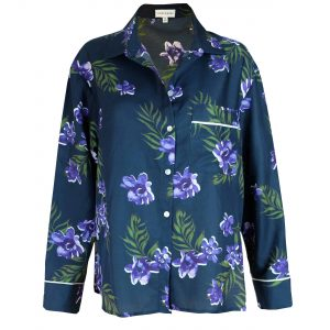 Silk Cotton Pyjama Shirt in Calycanthus